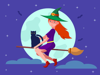 Witch on a broomstick with a black cat