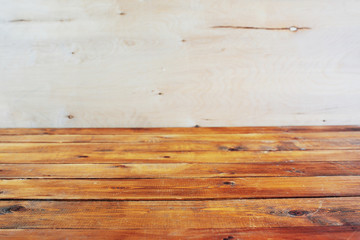 Template of a wooden background. Table-top. It is empty.