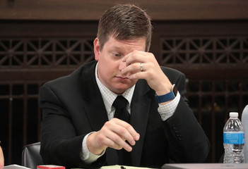 Jason Van Dyke listens during the trial for the shooting death of Laquan McDonald at the Leighton Criminal Court Building in Chicago