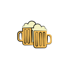 beer mugs colored icon. Element of birthday icon for mobile concept and web apps. Color beer mugs icon can be used for web and mobile