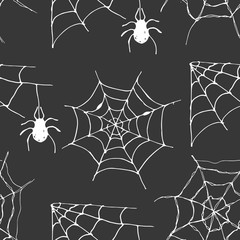 Spider web seamless pattern vector illustration. Hand drawn sketched web background