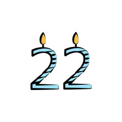 candles for 22 years colored icon. Element of birthday icon for mobile concept and web apps. Color candles for 22 years icon can be used for web and mobile