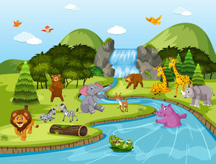 Animals in waterfall scene