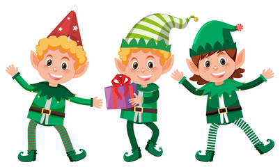 Set of happy elfs