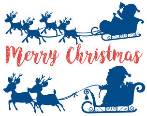 Merry christmas santa sleigh card