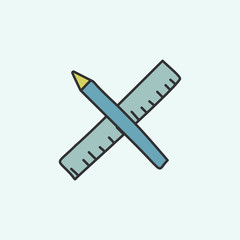 pencil and ruler sketch icon. Element of education icon for mobile concept and web apps. Field outline pencil and ruler sketch icon can be used for web and mobile