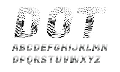 wave dotted font in retro style
