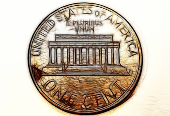 Dollar (USD) coin, currency of United States (USA) - One cent isolated over white background