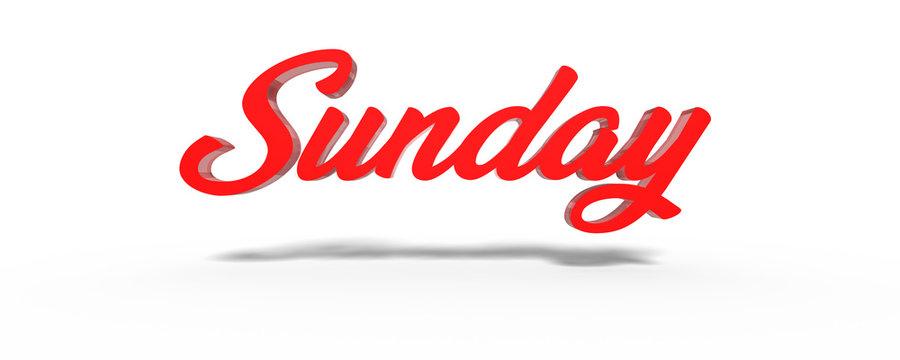 3D sunday,red sunday,crystal glass Calendar Banners.