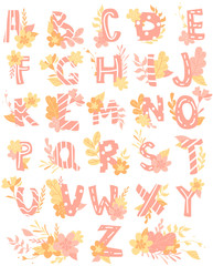 Hand-drawn letters, colorful English alphabet for children with flowers