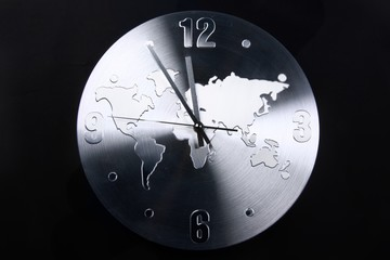 Analog Clock With World Map
