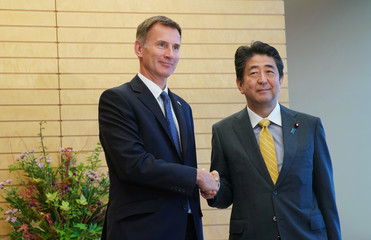 British Foreign Minister Jeremy Hunt and Japanese Prime Minister Shinzo Abe shake hands during a courtesy call to the latter's official residence in Tokyo