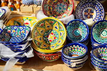Decorative ceramic traditional Uzbek Plates