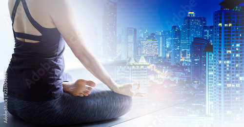 Young woman practicing yoga in color background Young people do yoga