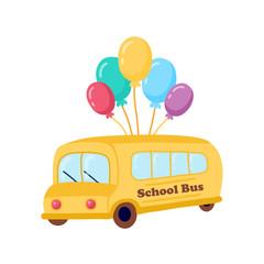 Illustration of school kids riding yellow schoolbus transportation education