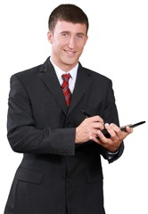 Businessman Holding Tablet- Isolated
