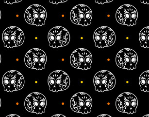 Day of the dead background, skull ornament pattern