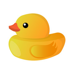 Duckling Toy Isolated icon. Cartoon style. Vector Illustration