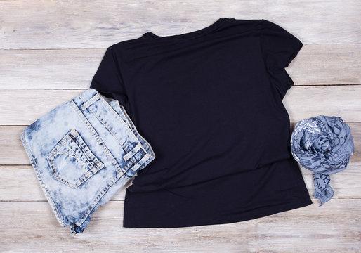 Black T-Shirt Mockup - Short Sleeve T-Shirt Flat Lay