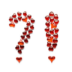 Love questions / Creative valentines concept photo of question and exclamatory marks made of hearts on white background.