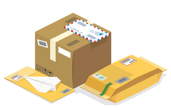 Vector realistic isometric illustration, a set of postal parcels, packages, registered letters, mails ready for fast delivery to the recipient, isolated on white background