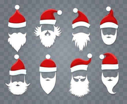 Santa hats and beards. Vector santa xmas face with hat or cap and christmas beard