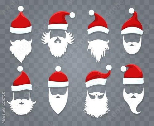 77a25efa044 Santa hats and beards. Vector santa xmas face with hat or cap and christmas  beard