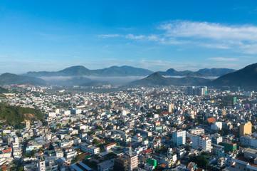 Aerial drone shot over Nha Trang, Vietnam