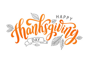 Happy thanksgiving day with autumn leaves. Hand drawn text lettering. Vector illustration. Script. Calligraphic design for print greetings card, shirt, banner, poster. Colorful fall