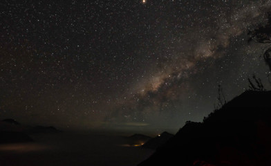 Beautiful view of milky way and silhouette trees on the way to Kawah Ijen in Java, Indonesia.