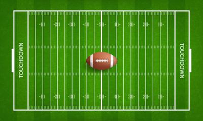 American football ball on football field pattern background. Vector.