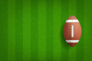 American football ball with green field pattern background. Vector.