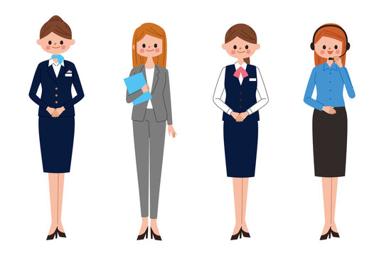 働く女性 イラスト サービスと接客