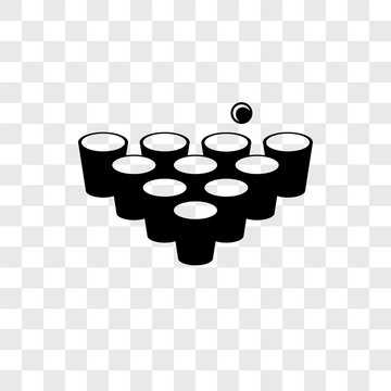 beer pong icons isolated on transparent background. Modern and editable beer pong icon. Simple icon vector illustration.