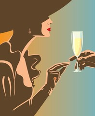 Drinking champagne / Woman a glass of champagne. Creative conceptual vector.