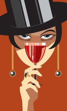 Drinking wine / Woman with a glass of wine. Creative conceptual vector.