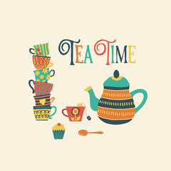 Tea time hand drawn vector illustration with stacked colorful tea cups, teapot, spoon, cupcake and Tea Time quote. Retro vintage style. Cute Tea time party invitation. Use for cards, scrap booking