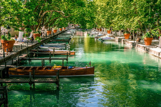 Wood boat and canal view taken from bridge of loves Annecy France