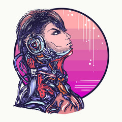 Robot man in headphones listening to music t-shirt design. Cyberpunk art. Portrait of biomechanical soldier, people of future
