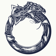 Ouroboros tattoo. Celtic dragon eating its own tail. Medieval symbol of eternity and infinity, life and death, beginning and end, magic, t-shirt design