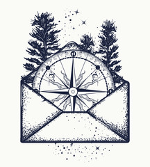 Compass in open envelope tattoo art. Symbol of tourism, adventure, travel t-shirt design