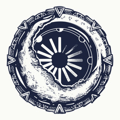Moon and star gate tattoo. Symbol of occultism, astrology, magic, imagination, t-shirt design art