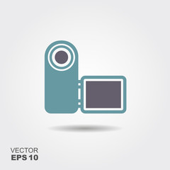Digital Video Camera Icon in flat style isolated on grey background.