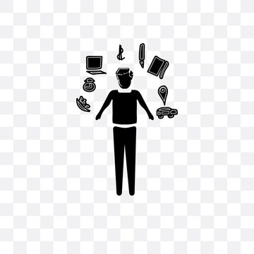 multitasking man icon isolated on transparent background. Simple and editable multitasking man icons. Modern icon vector illustration.