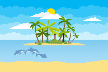 Island with palm trees in the middle of the ocean. Sea landscape of the island with palm trees and dolphins in the sea. Flat design, vector illustration, vector.