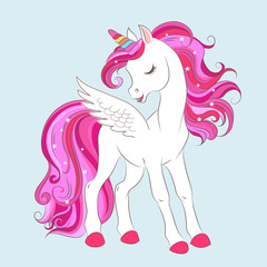 White girl Unicorn with Pink hair and stars.
