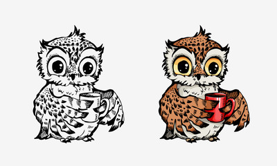 Cute owls collection coloring and line isolated on white