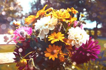 Grußkarte - wunderschöner Blumenstrauß - Herbst - Sommer