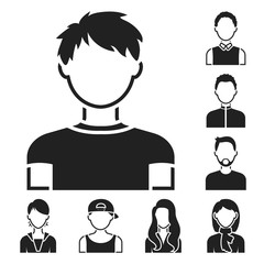 Avatar and face black icons in set collection for design. A person s appearance vector symbol stock web illustration.