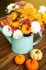 Grußkarte - Dahlien Blumenstrauß - Herbst